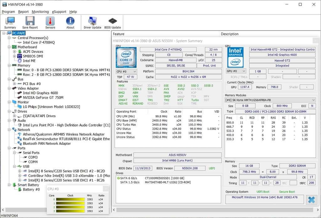 HWiNFO est le logiciel de diagnostic informatique le plus complet de cette sélection. © HWiNFO
