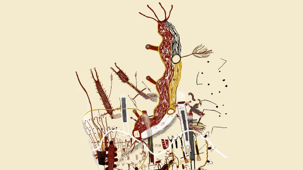 Composition polychrome de l'abri du Chaman Blanc, dont les personnages et les animaux fantastiques renvoient aux mythes cosmogoniques de populations d'Amérique centrale. © Dunod, tous droits réservés