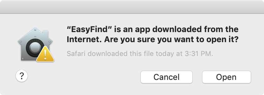 Voici le type de message qui s'affiche lorsque macOS a des doutes sur un programme téléchargé. © Malwarebytes
