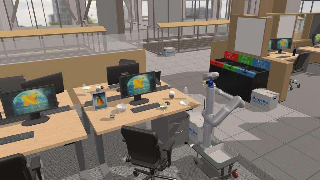 Dans les bureaux, le robot repère les objets et il les trie en fonction de leur contenant et de leur contenu. © X