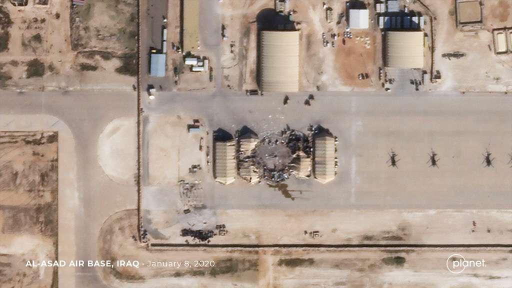Les images satellites haute résolution de la constellation SkySat de Planet révèlent l'étendue des dégâts survenus à la suite d'une frappe de missile iranien début janvier sur la base base aérienne d'Al-Asad (Janvier 2020). © 2020 Planet Labs, Inc.