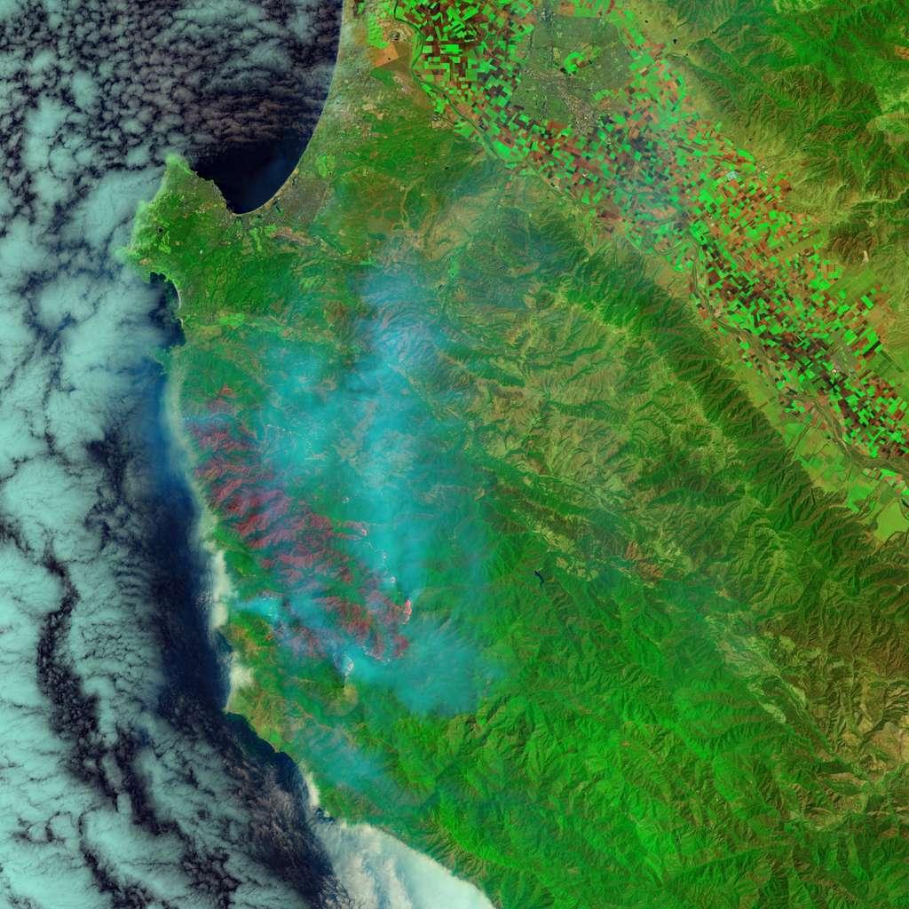 Le grand incendie de Soberanes, entre Monterey et Big Sur, imagé par Landsat 8 le 29 juillet dans le proche infrarouge avec l'instrument Oli (Operational Land Imager) du satellite Landsat 8. Les foyers actifs de l'incendie sont visibles en rouge vif et orange. Les parties réduites en cendres sont en rouge sombre. La végétation et les habitations intactes apparaissent en vert. La version dans le visible réalisée avec l'instrument Modis est à voir ici. © Earth Observatory