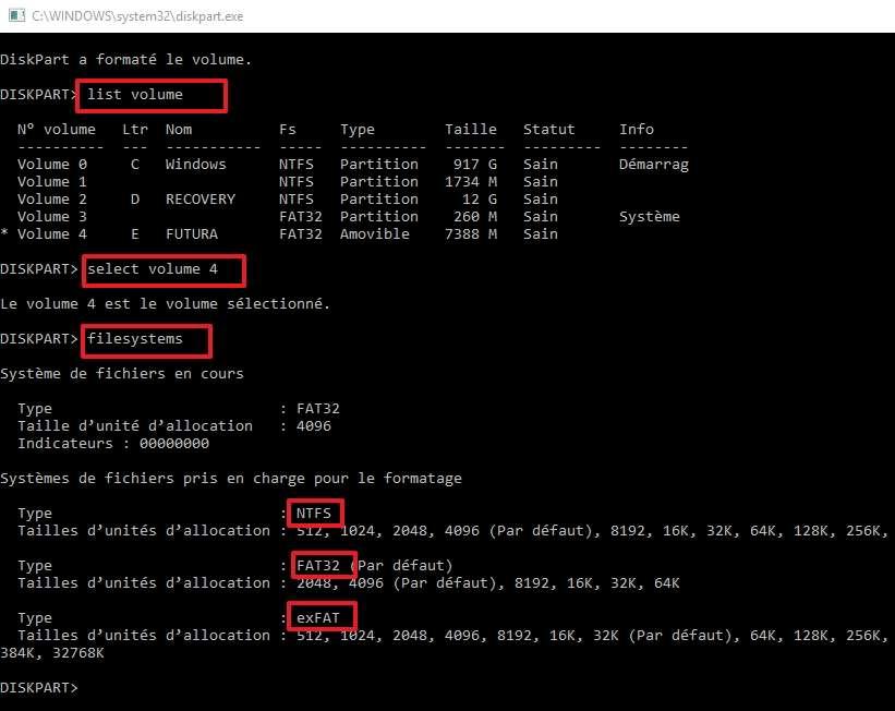 La liste des systèmes de fichiers pris en charge peut être affichée par DiskPart. © Microsoft