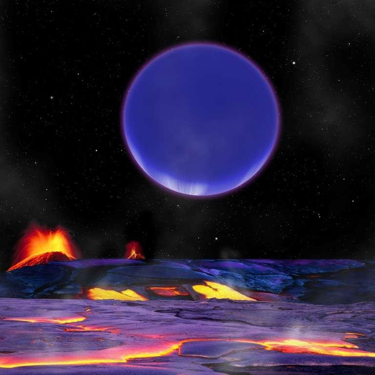 Lorsque la Neptune chaude de Kepler 36 est en conjonction avec sa superterre, elle doit en occuper une taille considérable sur la voûte céleste. D'importantes forces de marée doivent se manifester à ce moment et on peut penser que, tout comme dans le cas de Io et Jupiter, elles contribuent à une forte activité volcanique. © David Aguilar, Harvard-Smithsonian Center for Astrophysics