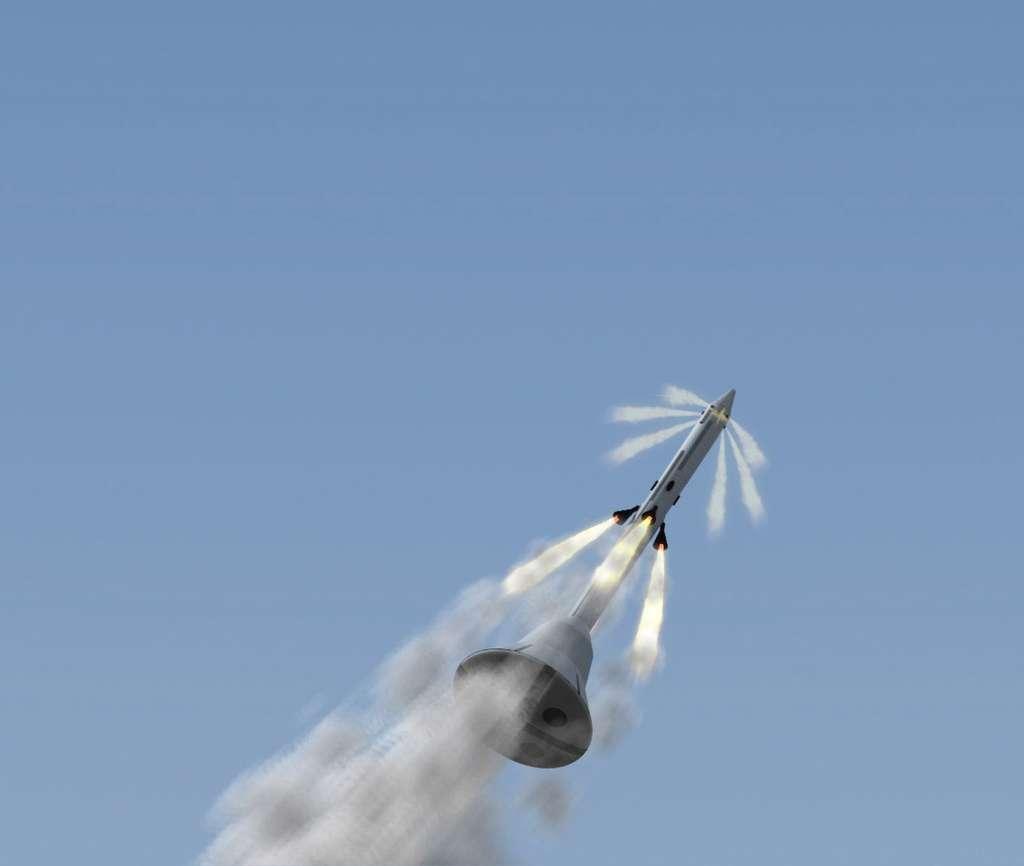 Vue d'artiste du système d'interruption de lancement d'Orion avec la tour de sauvetage en action. © Nasa