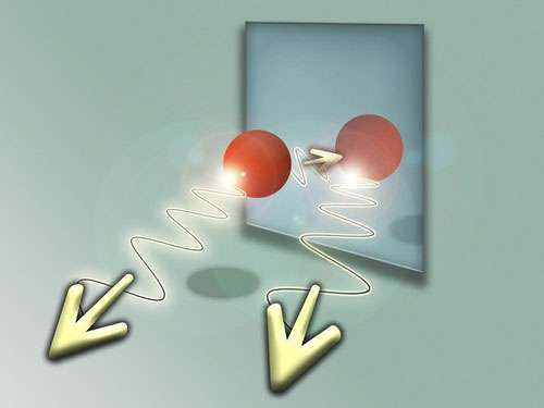 L'émission spontanée d'un atome juste devant un miroir produit parfois une situation quantique où l'on ne peut dire si le photon a été émis par l'atome sans se réfléchir sur le miroir ou si une réflexion s'est vraiment produite. © Technical University of Vienna