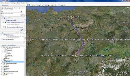 (Cliquer pour agrandir.) Comment aller de Paris à Lyon ? Demandez donc à Google Earth ! © Google; IGN