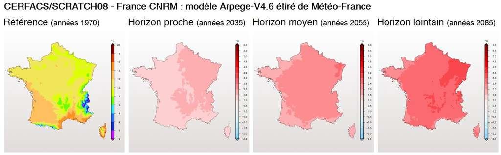 Les températures moyennes en France prédites par le modèle Arpège, de Météo France, en 2035, 2055 et 2085. Sur le site Drias, on obtient ce genre de cartographie en indiquant soi-même les paramètres à prendre en compte. © Drias