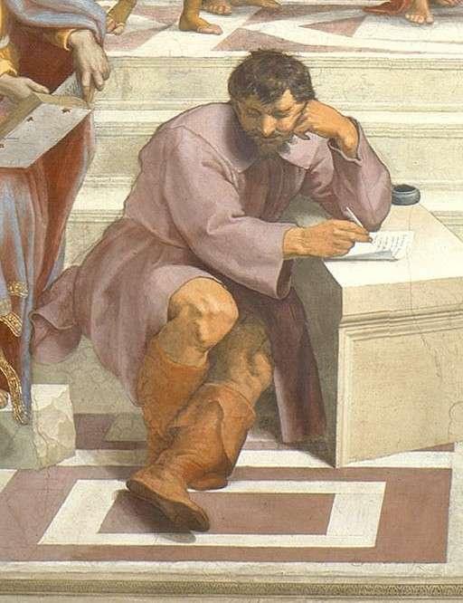 Le philosophe Héraclite représenté sous les traits de Michel-Ange. Détail de L'École d'Athènes, de Raphaël (1509). © DP