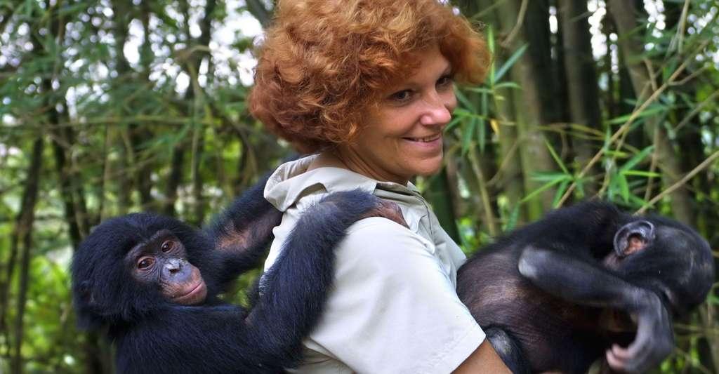 Claudine André avec de jeunes bonobos. © Claudine André, Lola Ya Bonobo, tous droits réservés