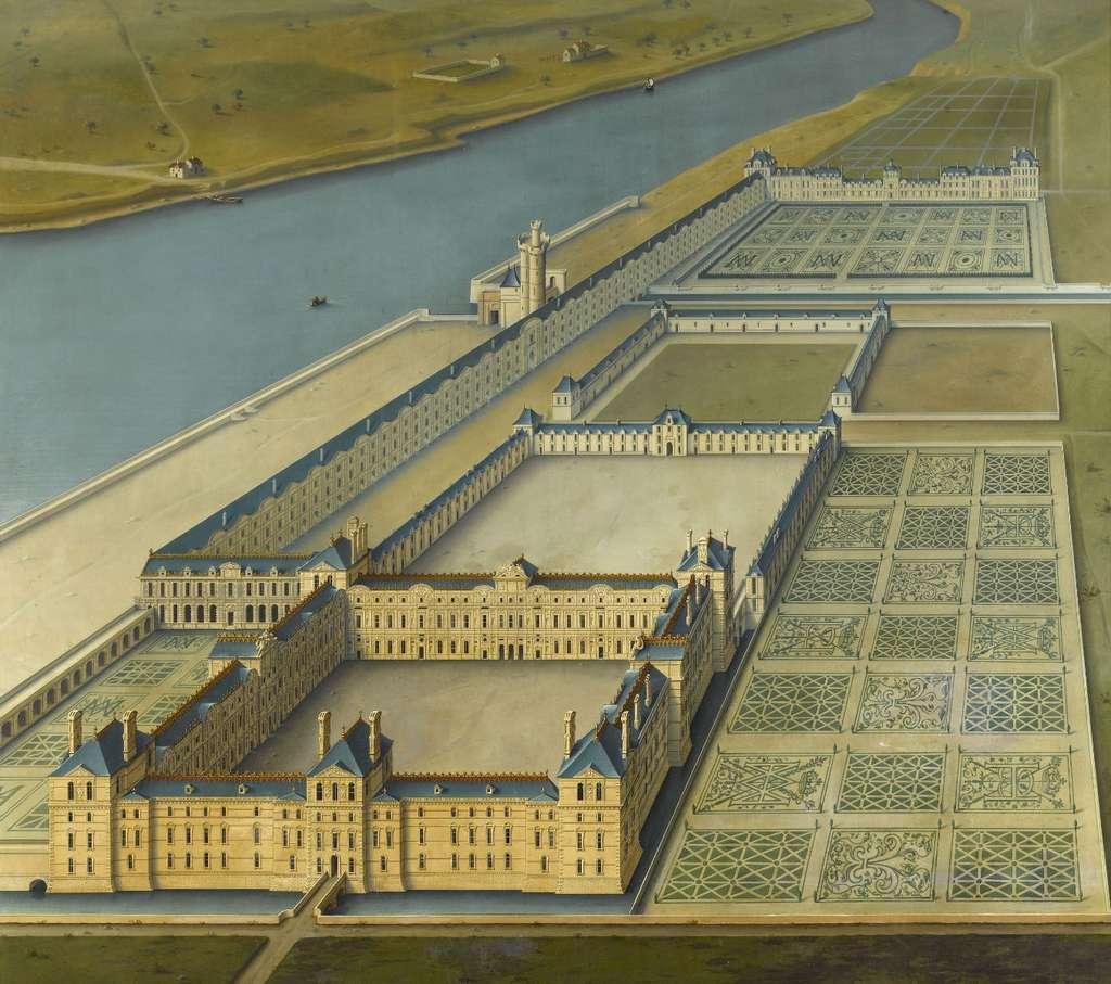 Carte murale du Louvre Le grand dessein d'Henri IV par Louis Poisson, entre 1600 et 1610. Tableau découvert dans la galerie des Cerfs, au château de Fontainebleau. © Wikimedia Commons, domaine public