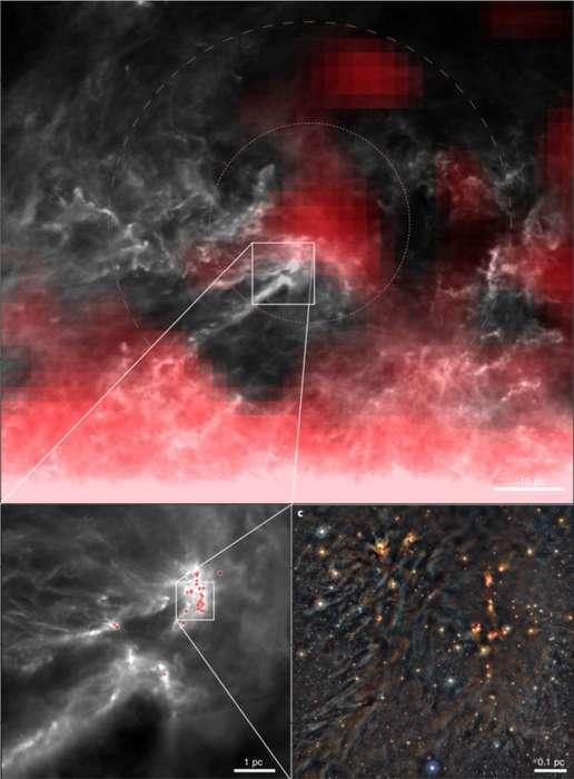 Des observations dans plusieurs bandes de longueurs d'onde de la région de formation d'étoiles du complexe de Rho Ophiuchi révèlent des interactions entre des nuages de gaz de formation d'étoiles et des radionucléides produits dans un amas voisin de jeunes étoiles. L'image du haut (a) montre la distribution de l'aluminium-26 en rouge, tracée par les émissions de rayons gamma. La case centrale représente la zone couverte dans l'image en bas à gauche (b), qui montre la distribution des protoétoiles dans les nuages d'Ophiuchus sous forme de points rouges. La zone dans la boîte est montrée dans l'image en bas à droite (c), une image composite en fausses couleurs et montrant dans le proche infrarouge le nuage L1688, contenant de nombreux noyaux de gaz dense pré-stellaires bien connus avec des disques et des protoétoiles. © Forbes et al., Nature Astronomy 2021