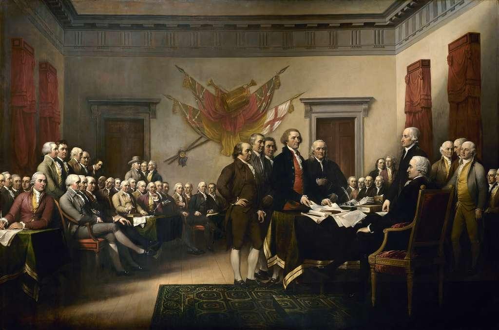 Déclaration d'indépendance américaine ; commission des Cinq déposant le texte de la Déclaration devant le Congrès, juillet 1776. Tableau peint par John Trumbull en 1819. © Capitole des États-Unis, domaine public