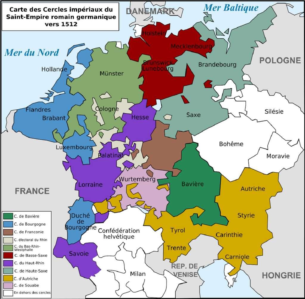 Carte des cercles impériaux (ou regroupements d'États) du Saint Empire romain germanique vers 1512. Auteur : Tinodela, 2008. © Wikimedia Commons, domaine public