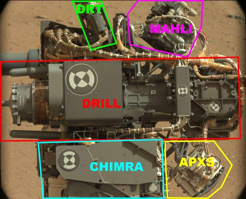 Image prise au 32e jour martien (sol 32) par la caméra Mastcam et montrant le porte-outil au bout du bras articulé. On y repère la caméra Mahli (Mars Hand Lens Imager), le dépoussiéreur DRT (Dust Removal Tool, une brosse), la foreuse (Drill), le spectromètre APXS (Alpha Particle X-Ray Spectrometer), ainsi que Chimra, le préparateur d'échantillons pour les laboratoires Chemin et Sam. © Nasa, JPL, MSSS, Planetary.org ; annotations d'Emily Lakdawalla