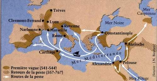 Carte de la peste du VIème siècle après J.C