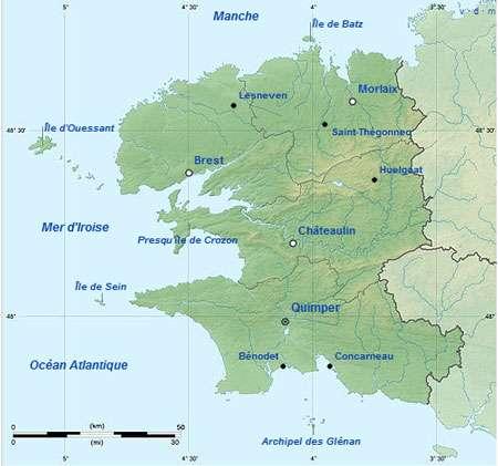 Carte du département du Finistère. © Éric Gaba, licence Creative Commons paternité – partage à l'identique 3.0 (non transposée)