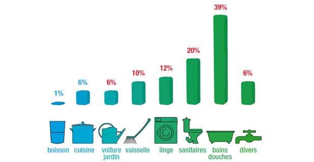 Schéma de la répartition de la consommation de l'eau pour un ménage français. © cieeau.com