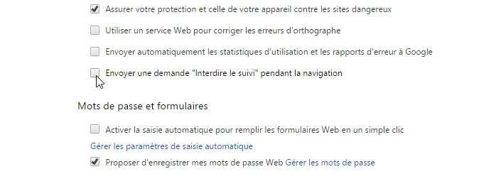 La fonction « interdire le suivi » dans Google Chrome. © Futura-Sciences