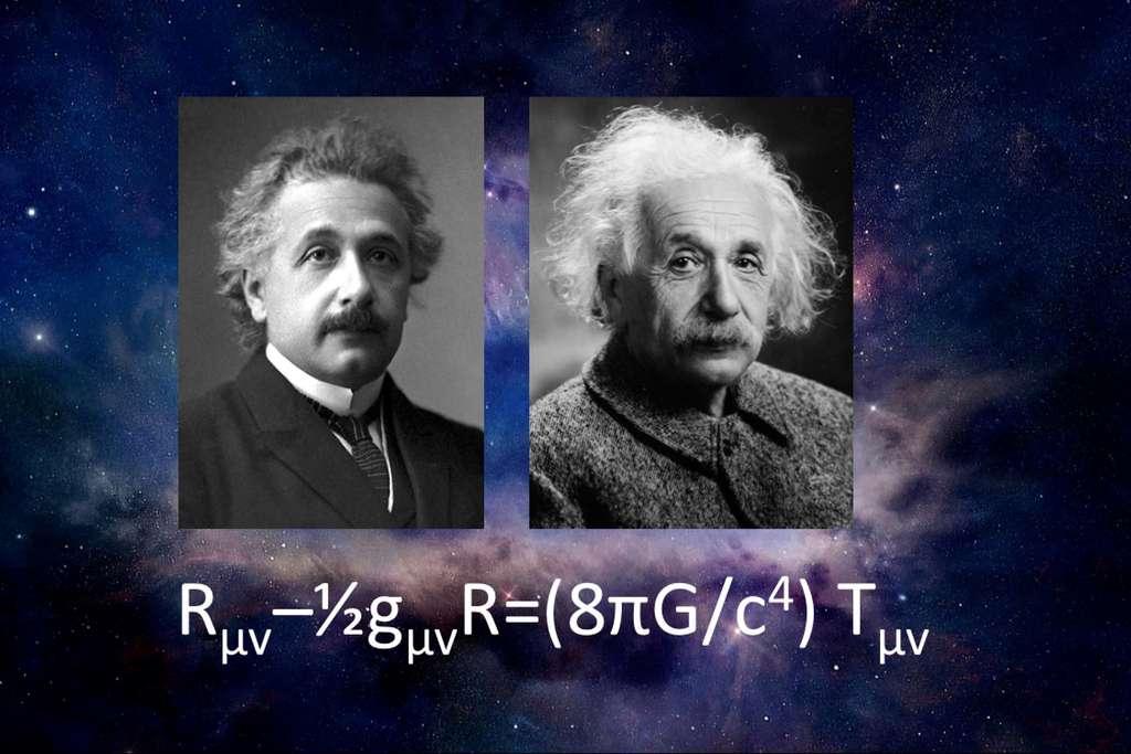 Albert Einstein et le système d'équations aux dérivées partielles non-linéaires de la théorie de la relativité générale. Le membre de gauche décrit la courbure de l'espace-temps alors que le membre de droite décrit les distributions d'impulsions et d'énergies, que ce soit la matière, la lumière ou l'énergie noire. © NASA, Nobel Foundation, Oren Jack Turner