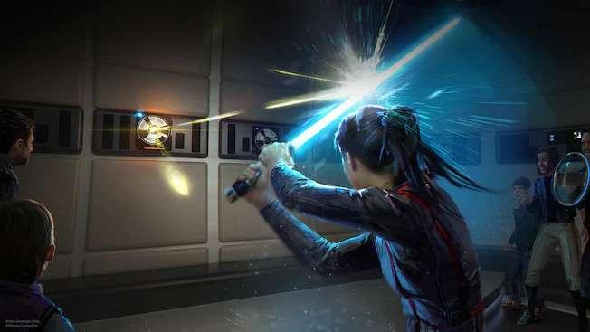 Un dessin dévoile l'attraction qui utilisera le sabre laser. © Disney