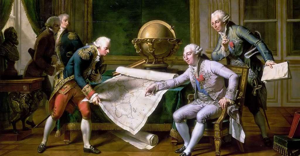 Louis XVI donnant des instructions à La Pérouse, le 29 juin 1785. © Château de Versailles, Wikipédia, DP