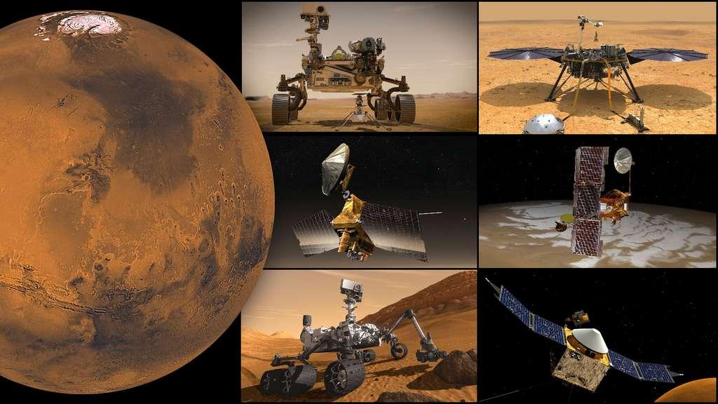 Les missions de la Nasa actuellement sur ou autour de Mars, en partant du haut à gauche : Perseverance et Ingenuity, InSight, Mars Odyssey, Maven, Curiosity et Mars Reconnaissance Orbiter (MRO) © Nasa, JPL-Caltech