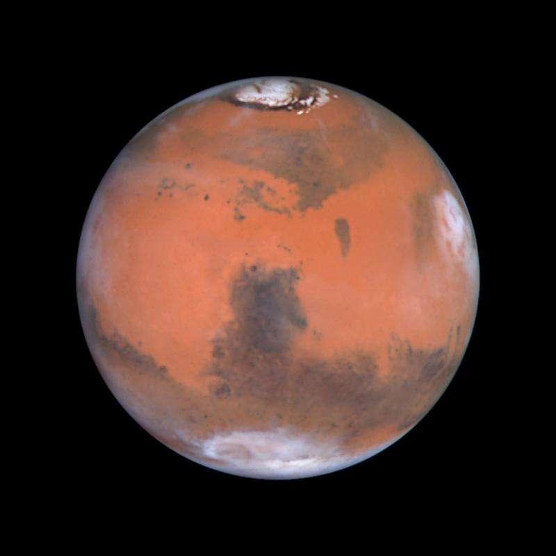 Cette photo montrant en haut l'un des pôles (nord) de Mars a été prise par Hubble. L'image est centrée sur une structure sombre dénommée Syrtis Major, observée la première fois par l'astronome Christian Huygens au XVIIe siècle. Au sud de Syrtis Major, on trouve une large structure nommée Hellas. Les sondes Viking et plus récemment Mars Global Surveyor ont révélé qu'Hellas est un vaste et profond cratère d'impact. Le long du limbe droit, les nuages de fin d'après midi se sont formés autour du volcan Elysium. © Nasa