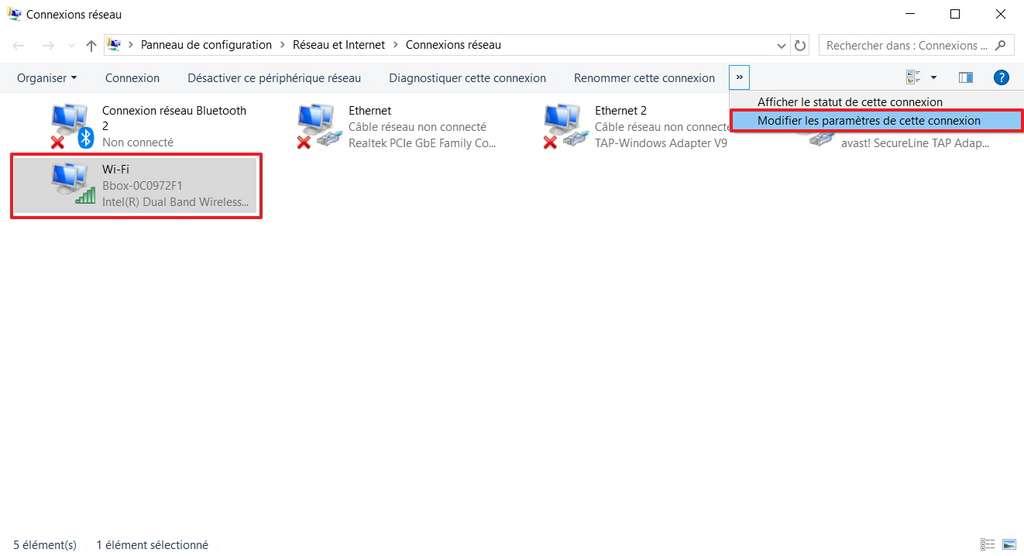 Faites un clic sur Modifier les paramètres de cette connexion, après avoir sélectionné la connexion active. © Microsoft