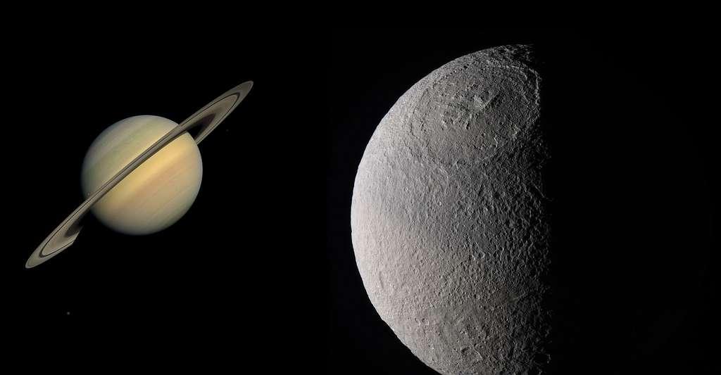 Saturne et sa lune Thétys