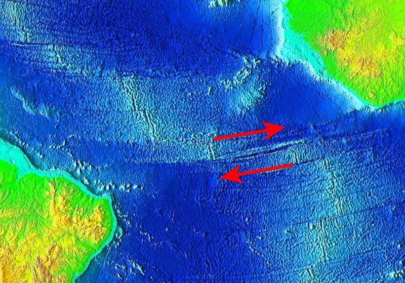 Faille transformante de la Romanche, océan Atlantique. © NGDC, Noaa, Wikimedia Commons, Domaine public