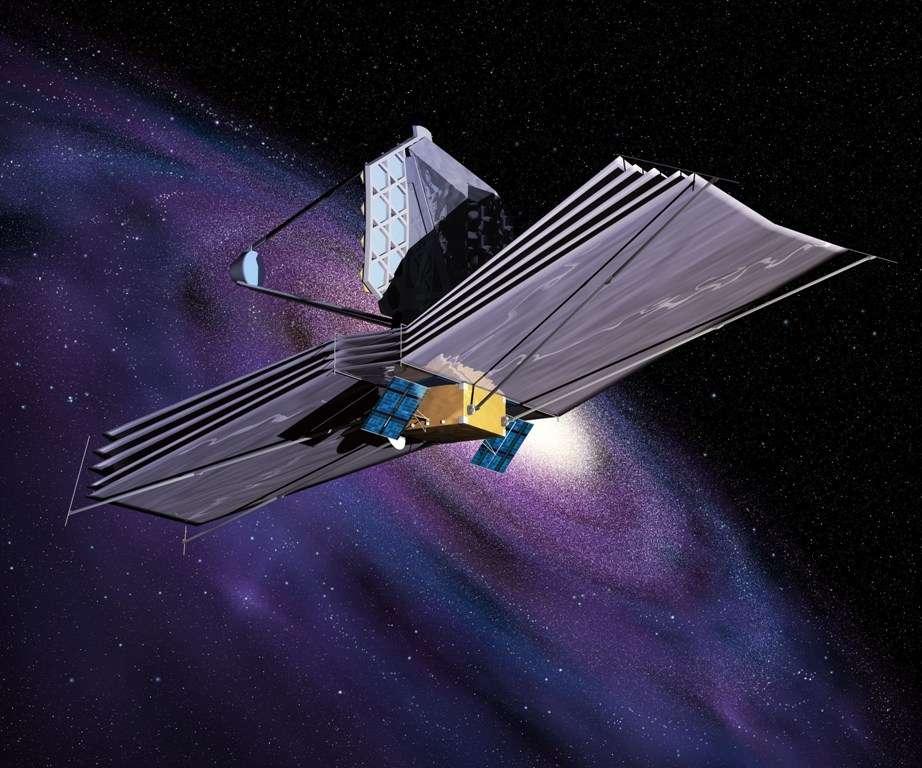 Une vue d'artiste du James Webb space telescope. Il devrait pouvoir étudier l'atmosphère des superterres habitables pour permettre d'y chercher des biosignatures, des traces de formes de vie et en tous cas de la présence d'eau liquide sur ces exoplanètes. © Esa