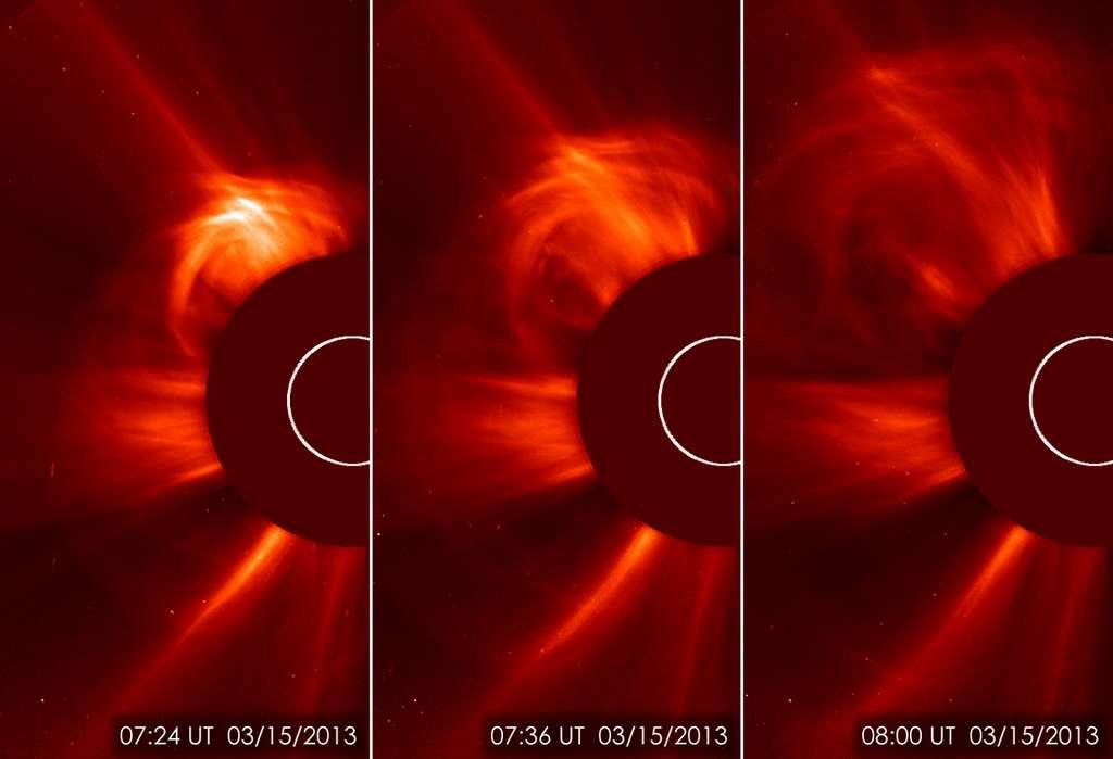 L'éjection de masse coronale du 15 mars a été capturée par l'observatoire du Soleil, Soho. Un flot important et inhabituel de particules solaires doit rencontrer la Terre ce lundi. © Esa, Nasa, Soho Science Team