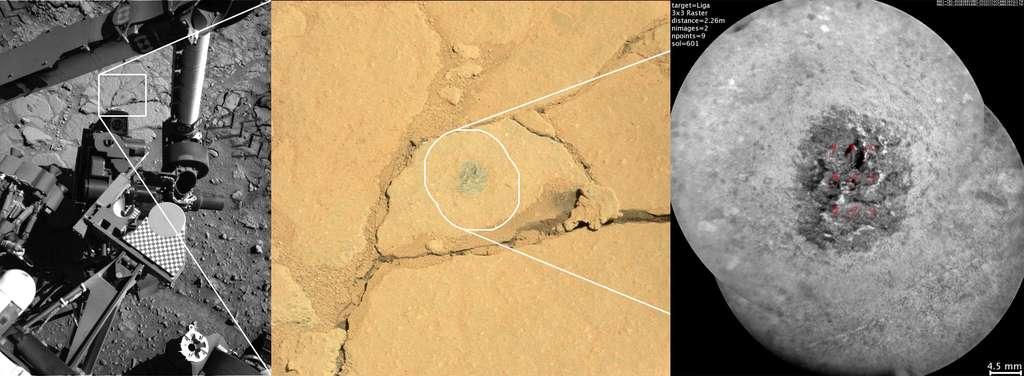 Une roche baptisée Liga. Sur la gauche, l'image de la caméra NavCam qui est utilisée pour choisir les cibles. Au milieu, l'image de la caméra couleur MastCam qui montre la poussière orangée que l'on trouve partout sur Mars et qui a été soufflée par les tirs au laser de ChemCam au centre, révélant la roche sous-jacente. À droite, l'image haute résolution de la partie télescope de ChemCam (il y a une échelle en bas à droite). © Nasa/JPL-Caltech/MSSS/CNES/CNRS/LANL/IRAP/IAS/LPGN