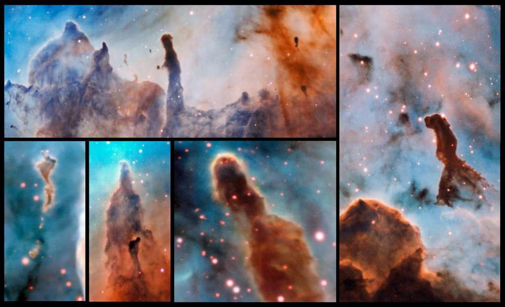 Plusieurs piliers de la nébuleuse de la Carène ont été observés et étudiés grâce à l'instrument Muse du VLT. © ESO