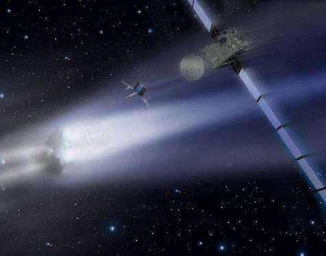 Largage de l'atterrisseur Philae à proximité du noyau cométaire, en 2014 (vue d'artiste). Crédit ESA.