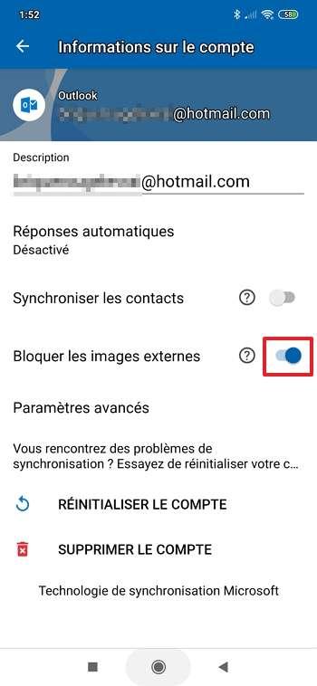 Activez le blocage des images externes. © Microsoft