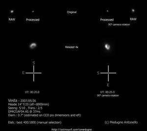 L'astronome italien A. Medugno est l'un des rares amateurs ayant pu réaliser des images détaillées de la surface de Vesta. Crédits : A. Medugno