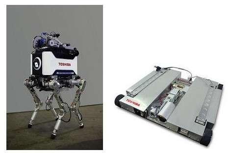 À gauche, le robot quadrupède conçu par Toshiba pour se déplacer dans les zones irradiées de la centrale nucléaire de Fukushima-Daiichi. Il est piloté à distance par une liaison sans fil. À droite, le minirobot d'exploration, qui peut être déployé par le modèle quadrupède dans les zones les plus inaccessibles. Les deux robots communiquent grâce à une liaison par câble. © Toshiba