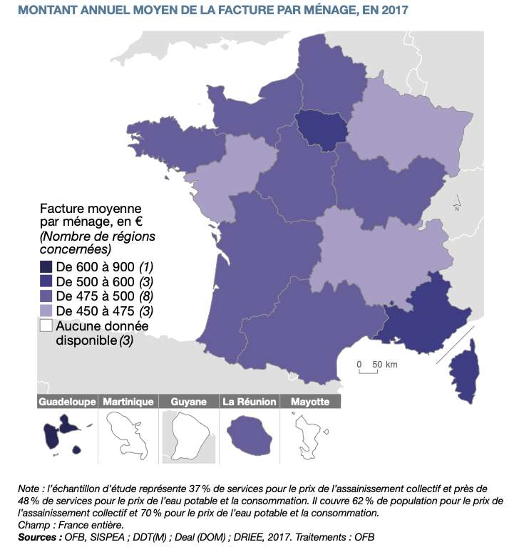 Malgré une consommation dans la moyenne, la Guadeloupe est la région où la facture moyenne est la plus élevée, en raison d'une tarification très élevée. © SDES