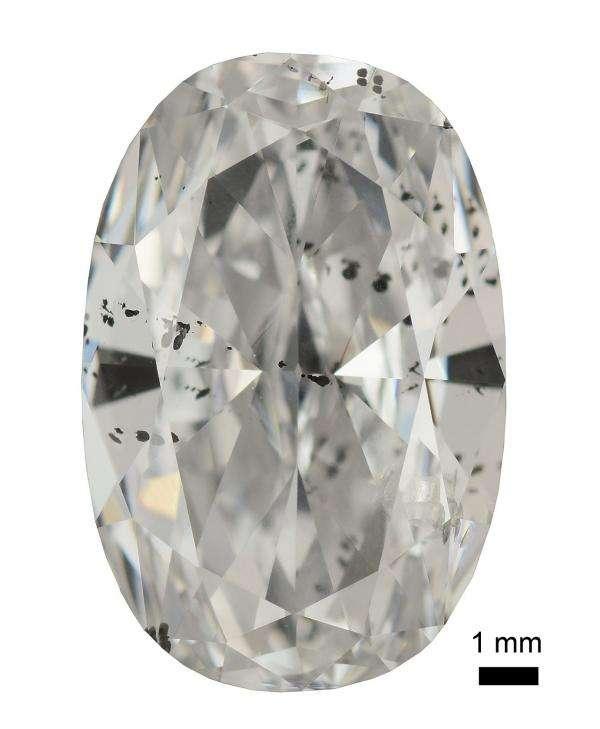 Un diamant contenant de multiples inclusions dont certaines sont métalliques. © Jae Liao