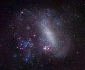 Le Grand Nuage de Magellan est une galaxie située à 160.000 années-lumière de nous. La nébuleuse de la Tarentule est la nébuleuse rouge la plus imposante sous le centre de l'image. Crédit R. Gendler