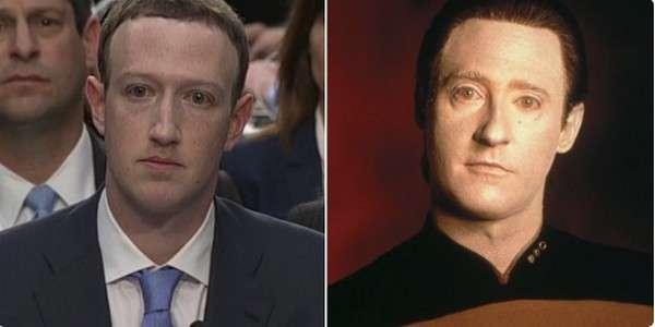 L'un des mèmes les plus hilarants sur Mark Zuckerberg, une ressemblance troublante avec l'androïde Data de Star Trek. © Matthew Teague
