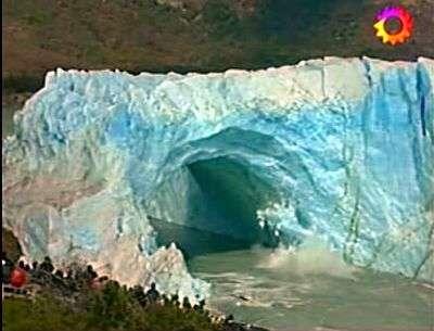 Effondrement du Perito Moreno, image 1. Capture télévision argentine