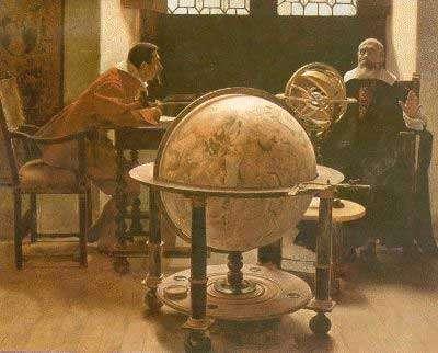 """Galilée instruisant Vincenzo Viviani - Cette peinture que nous devons à Tito Lessi représente Galilée instruisant Vincenzo Viviani. Profitant de l'occasion, nous pouvons imaginer quel serait la réponse de Galilée si nous lui demandions s'il n'enfreint pas les préceptes de Rome en étudiant l'univers : """"Certamente non il mio amico, certainement pas mon ami. Attendu que Dieu aurait créé le Ciel et la Terre mais qu'Il ne dit pas avoir engendré l'Univers, action qu'Il réserva au Christ, l'Univers peut donc faire l'objet d'expériences puisque le Créateur nous a doté de sens et d'intelligence. Ceux qui acquièrent ce savoir s'attirent l'amitié de Dieu""""."""