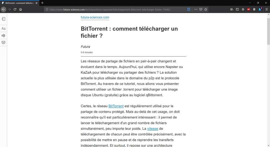 Visualisation d'un article sur Futura-Sciences avec Mozilla Firefox et le mode lecture activé. © Mozilla Corporation