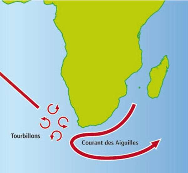 Les tourbillons issus du courant des Aiguilles remontent en direction de l'Atlantique Nord. On pense que ces tourbillons pourraient atténuer l'effet de la fonte des glaces en apportant des eaux très salées et chaudes. © L. Corsini, IRD