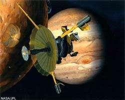 Image d'artiste de la sonde Galileo survolant la lune jovienne Io.