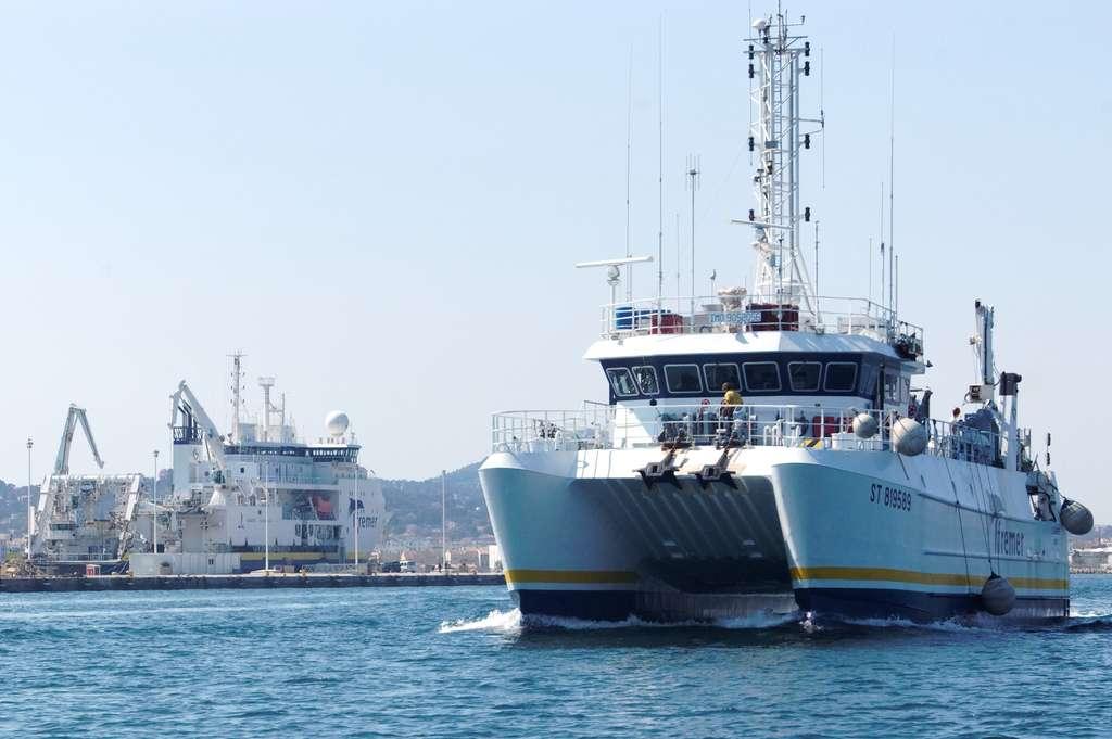 L'Europe est un navire côtier de 29,60 mètres de long. Il peut embarquer 8 membres d'équipage et 8 scientifiques. Basé à Sète, il travaille principalement sur la façade méditerranéenne. Le Pourquoi Pas ? est également visible à l'arrière plan. Ce navire océanographique hauturier de 107,60 mètres était en escale dans la rade de Toulon lors du départ de L'Europe pour la campagne DCE 3. © Quentin Mauguit, Futura-Sciences