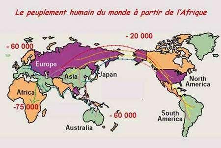 La vision actuelle du peuplement de la Terre par l'homme moderne (Homo sapiens) à partir de l'Afrique.